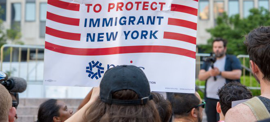 A 2018 protest in lower Manhattan against ICE, family separations and US border policies. (photo: M. Stan Reaves/Shutterstock)
