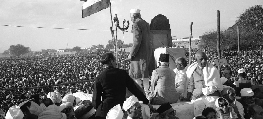 In 1948, India's prime minister, Jawaharlal Nehru, used the occasion of Gandhi's funeral, in the wake of Partition, to call for an end to sectarianism. (photo: Max Desfor/AP)