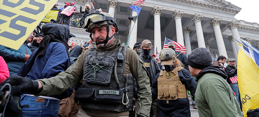 Donovan Crowl, a former marine who belongs to the Oath Keepers and an Ohio militia group, was among the Trump supporters who attacked the Capitol on January 6th. (photo: Jim Bourg/Reuters)