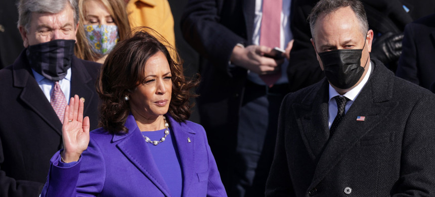 Vice President Kamala Harris is sworn-in. (photo: Alex Wong/Getty)