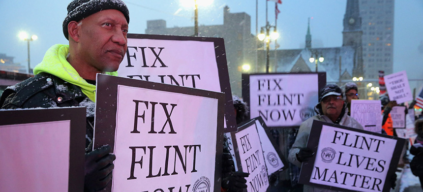 A protest about the Flint water crisis. (photo: Chip Somodevilla/Getty Images)