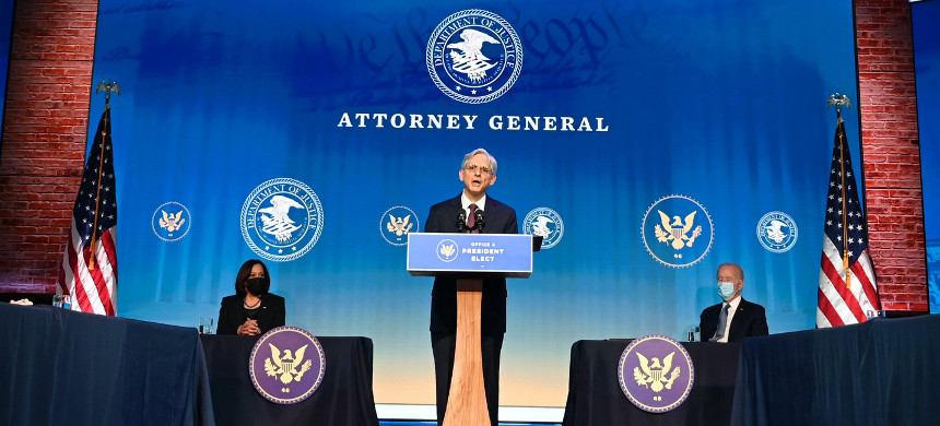 Merrick Garland, nominated by then-President-elect Joe Biden for attorney general, delivers remarks at the Queen Theater in Wilmington, Delaware, on Jan. 7, 2021. (photo: Jim Watson/Getty)