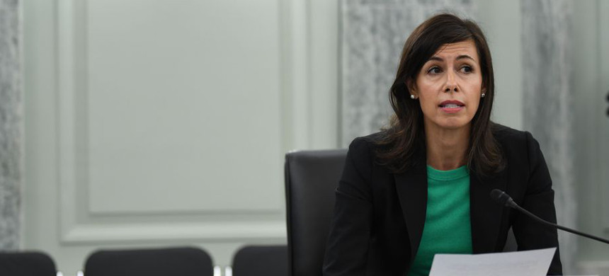 FCC acting Chair Jessica Rosenworcel at an oversight hearing on June 24, 2020, in Washington, DC. (photo: Jonathan Newton/Getty)