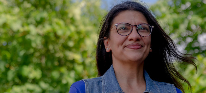 Rashida Tlaib: 'We're working really hard to make sure that much of the vision in the Green New Deal will continue through other policies and we're absolutely thrilled that at least we're moving in that direction, a lot of big steps in the plan.' (photo: Sylvia Jarrus/eyevine)