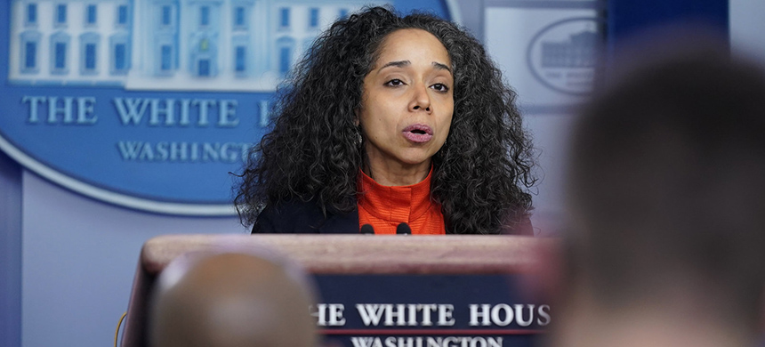 Julissa Reynoso, co-chair of the Gender Policy Council and chief of staff to first lady Jill Biden, speaks during a press briefing at the White House Monday. (photo: Patrick Semansky/AP)