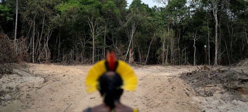 Krimej Indigenous Chief Kadjyre Kayapo looks out at a path created by loggers on the border between the Biological Reserve Serra do Cachimbo and Menkragnotire indigenous lands in Altamira, Para state, Brazil, Aug. 31, 2019. (photo: Leo Correa/AP)