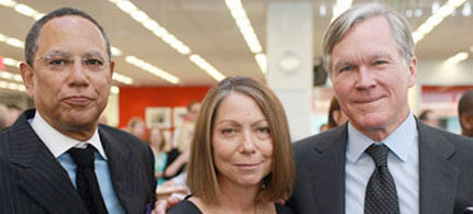 Outgoing New York Times Executive Editor Bill Keller (right), with successor Jill Abramson and managing editor Dean Baquet. (photo: Fred R Conrad/AP)