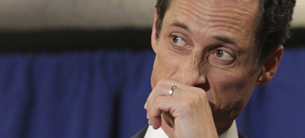 Anthony Weiner becomes emotional during his press conference, 06/07/11. (photo: Brendan McDermid/Reuters)