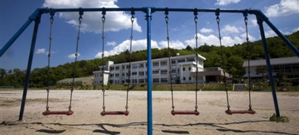 A playground sits empty at the Iitate primary school after all of the children were forced to evacuate from the town due to high radiation levels. (photo: Reuters)