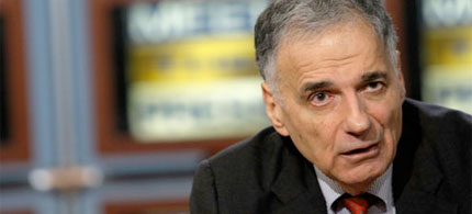 Ralph Nader being interviewed during his 2008 presidential campaign, 08/01/08. (photo: Scrape TV)