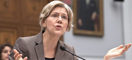 Consumer Financial Protection Bureau head Elizabeth Warren testifies on Capitol Hill before the House Financial Institutions and Consumer Credit subcommittee. (photo: Harry Hamburg/AP)