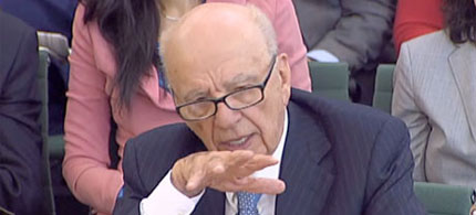 News Corp. publishing magnate Rupert Murdoch testifies during the British Parliament inquiry into phone-hacking allegations, 07/19/11. (photo: Rex Features)