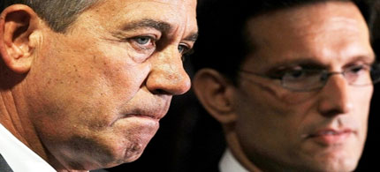 Speaker of the House John Boehner (left) and House Majority Leader Eric Cantor listen during a news briefing after a House Republican conference meeting, 06/22/11. (photo: Alex Wong/Getty Images)