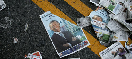 Litter, after an Obama-Biden train stop in Baltimore days before the 2009 inauguration. (photo: Todd Heisler/NYT)
