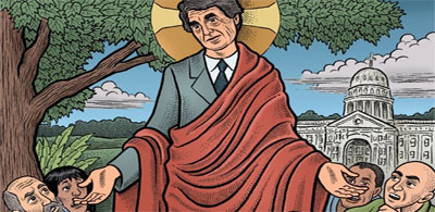 Rick Perry, who is running for President of the United States, is a self-proclaimed prophet. (art: Mario Zucca)