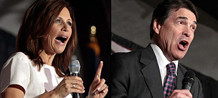 Minn. Rep. Michele Bachmann and Texas Gov. Rick Perry, 08/15/11. (photo: Getty Images)