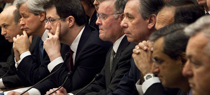 CEOs from eight of the largest US banks receiving government aid testify at a House Financial Services Committee hearing, 02/11/09. (photo: Brendan Smialowski/Bloomberg)