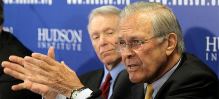 Donald Rumsfeld appears with Lewis 'Scooter' Libby at the Hudson Institute, 03/29/11. (photo: Alex Wong/Getty Images)