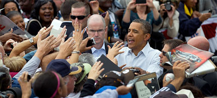 President Barack Obama is greeted by an enthusiastic crowd in Detroit after his Labor Day address, 09/05/11. (photo: Doug Mills/NYT)