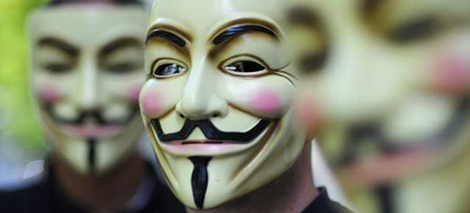 Anonymous activists wear masks during a demonstration against the Church of Scientology in Berlin, 08/14/08. (photo: Michael Gottschalk/AFP/Getty Images)
