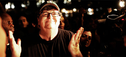 Filmmaker Michael Moore at Liberty Plaza visiting demonstrators taking part in the Occupy Wall Street protests, 09/26/11. (photo: Occupy Wall Street)