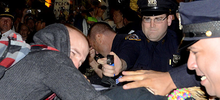 Protestors from an Occupy Wall Street march were arrested and pepper sprayed as they tried to march to Wall Street Wednesday night, 10/05/10. (photo: Julia Xanthos/NYDaily News)