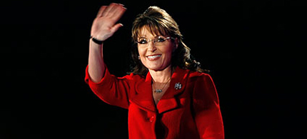 Sarah Palin: not running, just waving, 10/05/11. (photo: Gerald Herbert/AP)