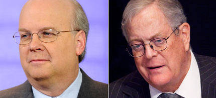 Karl Rove (left) and Koch brothers David (right) and Charles (not shown) are jostling for political power. (photo: AP)