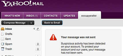Yahoo blocked users from sending e-mails about the OccupyWallSt.org website with a message claiming 'suspicious activity,' 09/20/11. (photo: ThinkProgress)