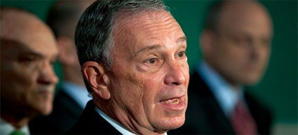 Mayor Michael Bloomberg suspends the First Amendment. (photo: Andrew Burton/Reuters)