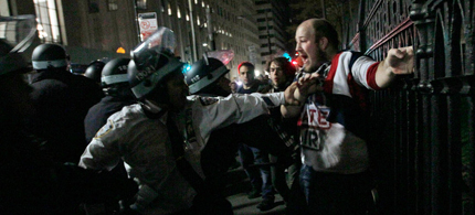 Brent Schmidt, of Brooklyn, was arrested near the Occupy Wall Street encampment, 11/15/11. (photo: Mary Altaffer/AP)