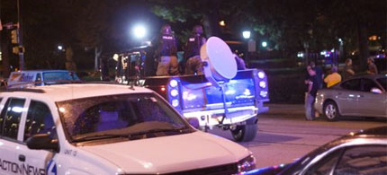 An LRAD sound cannon deployed against G-20 protesters in Pittsburgh G20, 09/24/11. (photo: Dean Putney)
