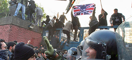 Protesters storm the British embassy in Tehran. (photo: AP)