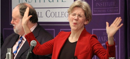 Elizabeth Warren gestures during a forum at Stonehill College in Easton, Massachusetts, 12/06/11. (photo: Gary Higgins/Quincy Patriot Ledger/AP)