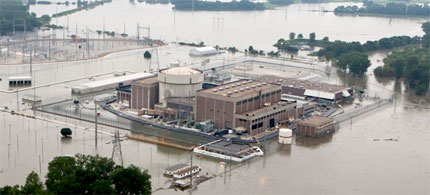 The Fort Calhoun nuclear power station, in Fort Calhoun, Neb., is surrounded by flood waters from the Missouri River, June 14, 2011. (Nati Harnik/AP Photo)