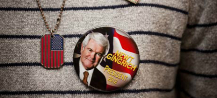 A Republican supporter sports a Newt Gingrich badge. 'In the days before he broke from the pack, Gingrich topped the Fox News airtime chart.' (photo: Michael Nagle/Getty Images)