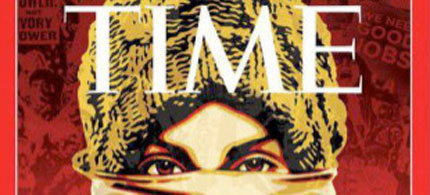 Cover of TIME magazine sanitizes the image of the protester in its 'Person of the Year' photograph. (photo art: Shepard Fairey/TIME Magazine)