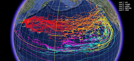 NOAA has run a numeric model for ocean surface currents to predict the movement of marine debris generated by the Japan tsunami over five years. The model measures the movement of surface currents, as well as the movement of what is in or on the water, 03/31/11. (photo: J. Churnside (NOAA OAR)/Google Earth)
