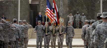 Ceremonies marking the end of the US military mission in Iraq are held in Baghdad, 12/15/11. (photo: AP)