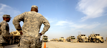 The final US convoy prepares to leave Iraq, 12/18/11. (photo: AP)