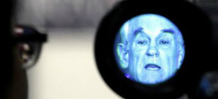 Republican presidential candidate Rep. Ron Paul is seen in a viewfinder as he speaks during a campaign stop at the Iowa State Fairgrounds in Des Moines. (photo: Charlie Riedel/AP)