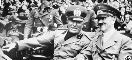 In the Italy of 1932, the Fascist leader Benito Mussolini, pictured with Hitler, strengthened his grip, consolidating Italian power in the looted colonies of Albania and Libya. (photo: AP)