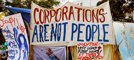 Corporations Are Not People banner in Civic Center, Los Angeles, CA, 11/25/11. (photo: Doran/Flickr)