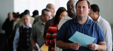 Under a new GOP proposal, people waiting in unemployment lines may wait in vain for checks if they cannot produce a high school diploma. (photo: Getty Images)