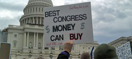 Occupiers say they are protesting the influence of corporate money in politics, and will show the House of Representatives what real democracy looks like. (photo: Scott Thuman/ABC7/WJLA)
