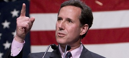 Former Sen. Rick Santorum's bellicose rants against Iran and the 'Marxist cancer' he sees in the Americas have made him a fan-favorite among Evangelicals, 05/19/11. (photo: AP)