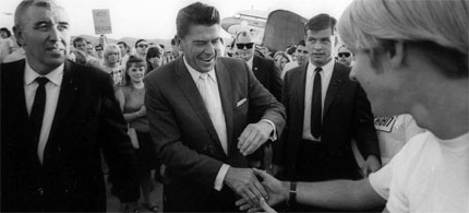 Then-candidate for California governor Ronald Reagan, campaigning in San Luis Obispo, 1966. (photo: The Tribune)