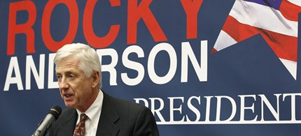 Former Salt Lake City Mayor Rocky Anderson announces his run for the Presidency of the United States on the Justice Party Ticket on the campus of The University of Utah in Salt Lake City, January 13, 2012. (photo: George Frey/Reuters)