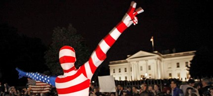 Revelers gather at the White House and chant 'USA! USA!' after the death of Osama bin Laden, 05/21/11. (photo: Chip Somodevilla/Getty Images)