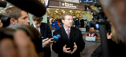 Rand Paul was detained 'indefinitely' after refusing a full body pat-down in Nashville. (photo: John Shinkle/POLITICO)